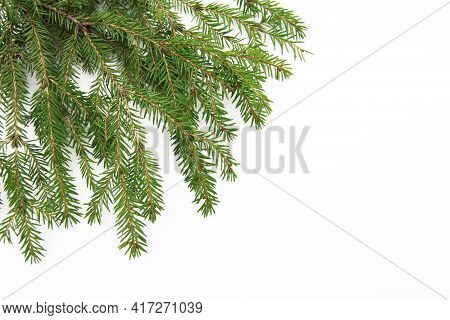 Natural Green Needles On A Fluffy Branch Of A Christmas Tree Or Pine, Isolated On A White Background