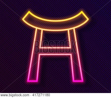 Glowing Neon Line Japan Gate Icon Isolated On Black Background. Torii Gate Sign. Japanese Traditiona