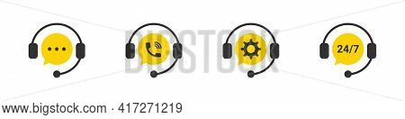 Support Icons. Customer Support. Hotline Icons. Support Service. Call Center. Vector Illustration