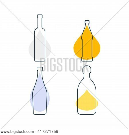 Modern Abstract Illustration With Bottles Vodka Beer Martini Tequila And Color Blobs. Linear Outline