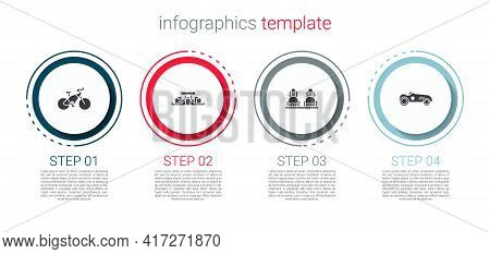 Set Bicycle, Formula 1 Racing Car, Snowboard And Vintage Sport. Business Infographic Template. Vecto