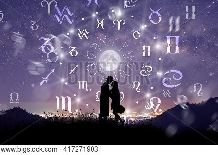 Astrological Zodiac Signs Inside Of Horoscope Circle. Couple Singing And Dancing Over The Zodiac Whe