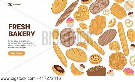 Website Banner For Bakery. Landing Page, Website Design, Hero Image.