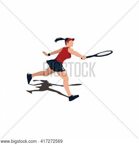 Woman Athlete Swing Her Tennis Racket - Tennis Cartoon Athlete Isolated On White