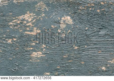Gray And Blue Wooden Board, Peeling Paint On A Wood Grain. Painted Old Floor, Grunge Background, Cra