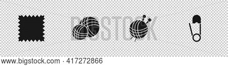 Set Leather, Yarn Ball, With Knitting Needles And Safety Pin Icon. Vector