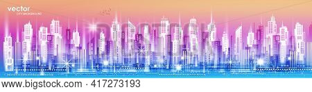 City Vector Panorama. Cityscape Architecture Background. Urban Panorama. Illustration With Architect