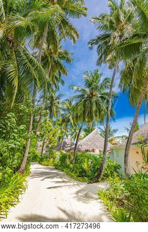 Beautiful Tropical Resort View, Beach Villas, Bungalows Under Blue Sky And Palm Trees. Luxury Hotel