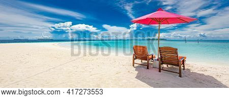 Beautiful Tropical Island Scenery, Two Sun Beds, Loungers, Umbrella, Seascape View . White Sand, Sea