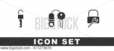 Set Unlocked Key, House With And Lock Repair Icon. Vector
