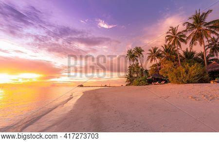 Beautiful Tropical Sunset Scenery, Seaside, Shore, Coastline With Palm Tree. White Sand, Sea View Wi
