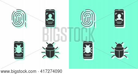 Set System Bug, Fingerprint, On Mobile And Mobile And Face Recognition Icon. Vector