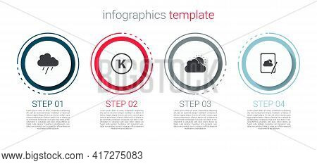 Set Cloud With Rain, Kelvin, Sun And Cloud Weather And Weather Forecast. Business Infographic Templa
