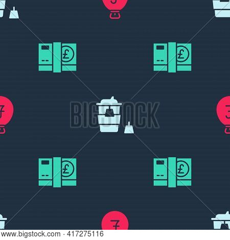 Set Money Bag With Pound, Coffee Cup To Go And Pound Sterling Money On Seamless Pattern. Vector