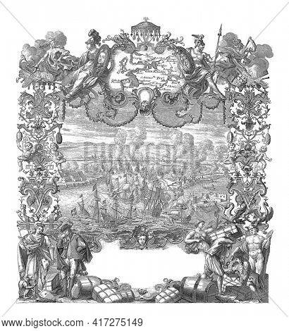 Battle of the Bay of Vigo, 1702, vintage engraving.