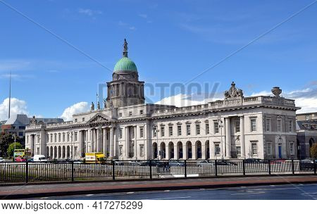 DUBLIN, IRELAND - MAY 12, 2011: The Custom House is a neoclassical 18th century building in which houses the Department of Housing, Planning and Local Government.