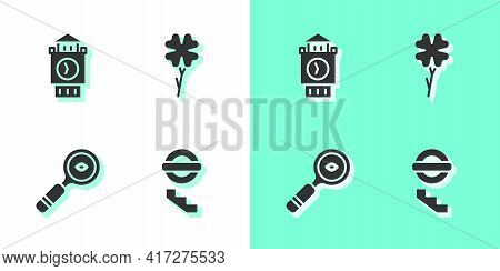 Set London Underground, Big Ben Tower, Magnifying Glass And Four Leaf Clover Icon. Vector