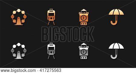 Set London Eye, Tram And Railway, Big Ben Tower And Umbrella Icon. Vector