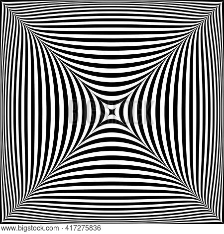 3D illusion in abstract op art design. Striped lines texture.