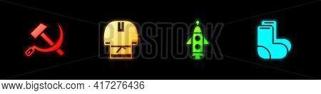 Set Hammer And Sickle Ussr, Kosovorotka, Rocket Ship And Valenki Icon. Vector