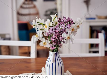 Fresh Flowers In Vase. Flower In Vase On Table. Flowers For Postcard And Home Decoration. Beautiful