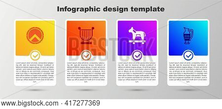 Set Greek Shield, Ancient Lyre, Trojan Horse And Amphorae. Business Infographic Template. Vector
