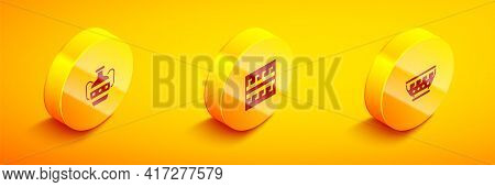 Set Isometric Ancient Amphorae, Greek Pattern And Ancient Bowl Icon. Vector