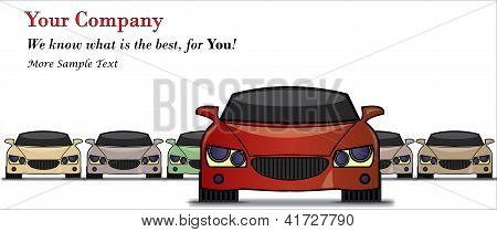 Illustration Of Car Sale With The Best Car In The Front And A Row Of Light Coloured Cars At The Back