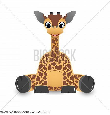 Charming Cute Baby Giraffe With Long Neck Sitting