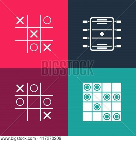 Set Pop Art Board Game Of Checkers, Tic Tac Toe, Hockey Table And Icon. Vector