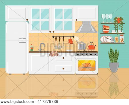 Cozy Kitchen With White Furniture, Glass Cupboard, Refrigerator, Shelfs, Plants And Food On Gas Stov