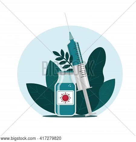 Coronavirus Vaccine Bottle And Syringe With A Dose Of Vaccine. Vaccination Concept. Flat Vector Illu