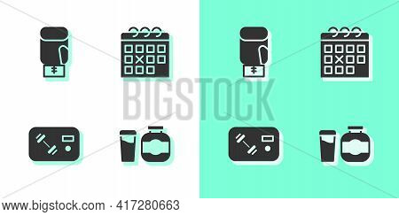 Set Sports Nutrition, Boxing Glove, Fitness Club, Gym Card And Calendar Fitness Icon. Vector