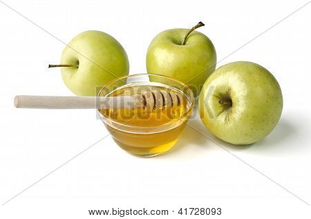 Green Apples And A Bowl Of Honey