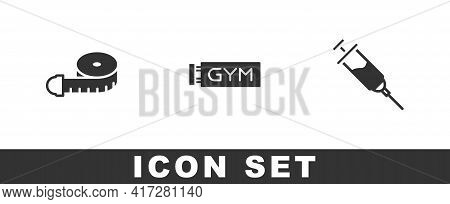 Set Tape Measure, Location Gym And Doping Syringe Icon. Vector