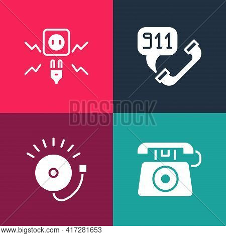 Set Pop Art Telephone Call 911, Ringing Alarm Bell, And Electricity Spark Icon. Vector