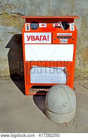 Metal Container Box Fior Used Danger Items With Mercury Aka Hydrargyrum Components In Kiev, Ukraine.