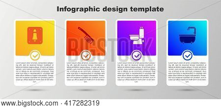 Set Female Toilet, Hairbrush, Toilet Bowl And Bathtub. Business Infographic Template. Vector