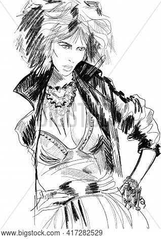 Hand-drawn Abstract Fashion Illustration Of Imaginary Female Model, With The Trendy Rock Star Outfit