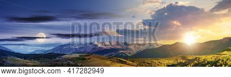 Time Change Concept Above Mountainous Rural Panorama Landscape In Springtime With Sun And Moon. Beau