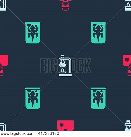 Set Laboratory Assistant, Test Tube Flask On Fire And Experimental Animal On Seamless Pattern. Vecto