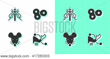 Set Prosthesis Hand, Experimental Insect, Mouse And Cell Division Icon. Vector