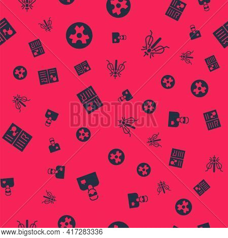 Set Laboratory Assistant, Biohazard Symbol, Clinical Record And Experimental Insect On Seamless Patt