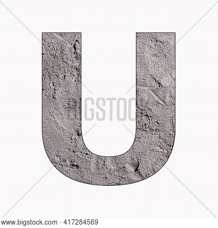 Letter U - Alphabet In Gray Stucco Texture