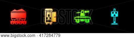 Set Coal Train Wagon, Toilet The Car, Draisine Or Handcar And Train Traffic Light Icon. Vector