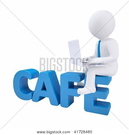 3D Man With Laptop Sitting On Cafe