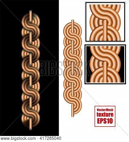 Vector Texture. Element Of Intertwined Iron Rods. Braided Cable Vector Seamless Pattern