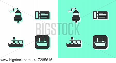 Set Lifeboat, Ship Bell, Beach Pier Dock And Cruise Ticket Icon. Vector