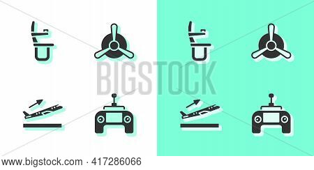Set Drone Remote Control, Airplane Seat, Plane Takeoff And Propeller Icon. Vector