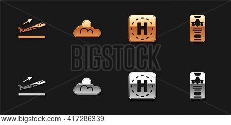 Set Plane Takeoff, Cloud Weather, Helicopter Landing Pad And Mobile With Ticket Icon. Vector